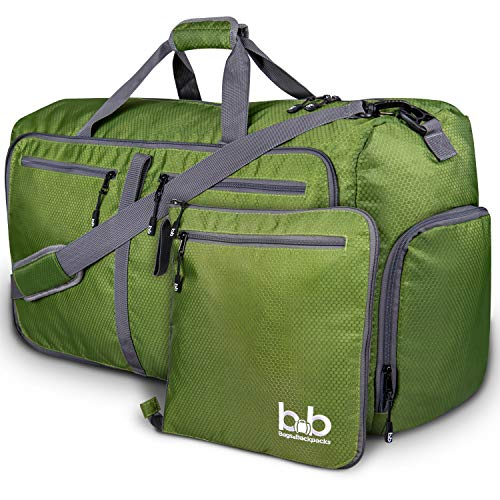 Medium Gym Duffle Bag with Pockets – Foldable Lightweight Travel Bag Dark Green