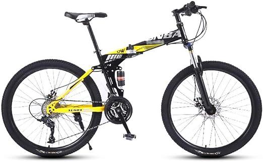 YHDP Ciclismo De Montaña,Velocidad Variable Plegable Bicicletas para Adultos,Doble Absorción De Impactos Suspensión Delantera 26 Pulgadas Bicicletas Todoterreno Velocidades Amarillo D 26inch: Amazon.es: Jardín