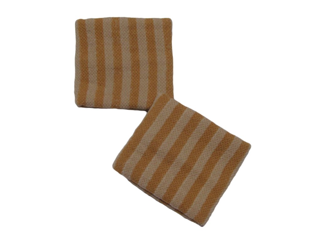 COUVER Cute Girl 2.5'' Width x 2'' Length Wristband, Brown Stripe(1 pair)