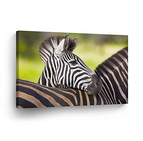 Serengeti National Park - Cute Zebra and Mom Canvas Print Safari African Decor Black and White Wall Art Living Room Home Decor Artwork - Ready to Hang - 8x12 inches