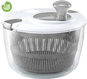 Gourmia GSA9240 Jumbo Salad Spinner - Manual Lettuce Dryer With Crank Handle & Locking Lid, BPA Free and Top Rack Dishwasher Safe,(5L)