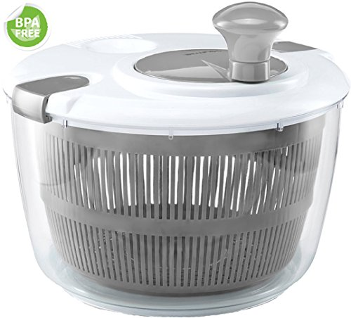 o Salad Spinner - Manual Lettuce Dryer With Crank Handle & Locking Lid, BPA Free and Top Rack Dishwasher Safe,(5L) ()