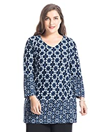 Chicwe Women's V-Neck Printed Cashmere Touch Plus Size Tunic Top US12-30