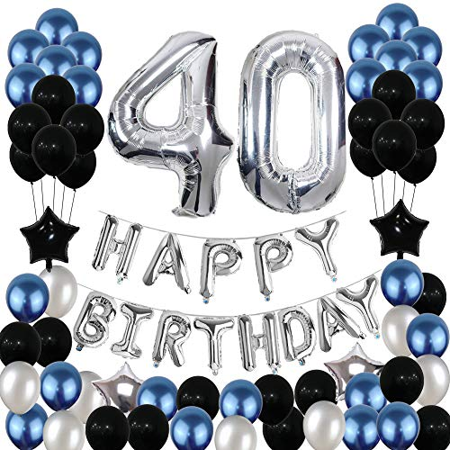 40th Birthday Decorations,40 Birthday Balloons Party Supplies Happy Birthday Banner Latex Balloons Foil Star Balloons Blue Black (81PCS)]()