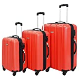 3 Piece Luggage Set Durable Lightweight Hard Case Spinner Suitecase LUG3 SK541 RED