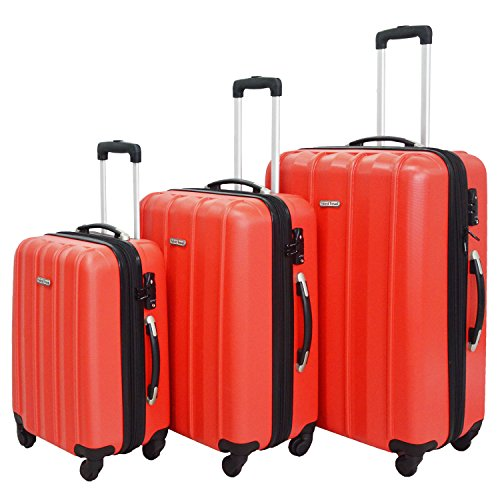 3 Piece Luggage Set Durable Lightweight Hard Case Spinner Suitecase LUG3 SK541 RED by HyBrid & Company