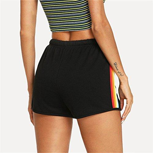 laterali a Elastic Waist Shorts Donna coulisse media Pantaloncini nera Athleisure sportivi Shorts Linyin Summer righe Black 4qxwtwR5
