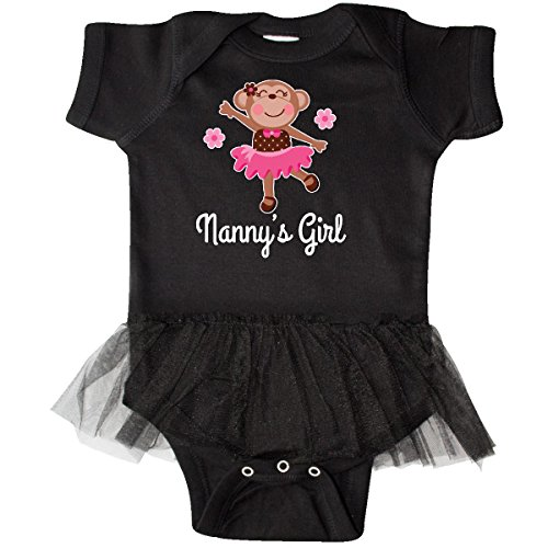 inktastic Nanny Girl Ballerina Monkey Infant Tutu Bodysuit 18 Months Black (Ballerina Onesie Dress)