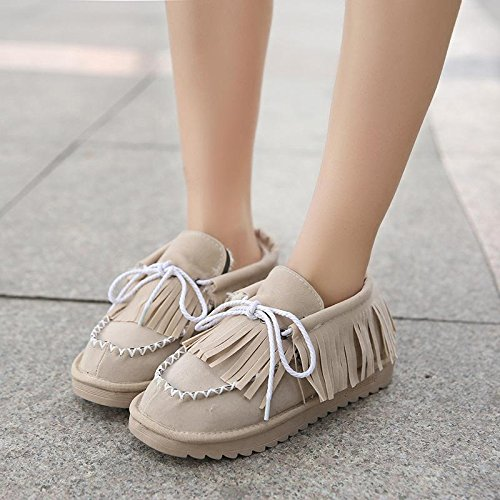 NSXZ Winter fashion tassel tie round snow boots warm ankle boots BEIGE-90160CM 7lMQyTj