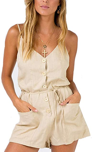 Women Playsuits Solid Beach High Fashion Playsuit Rompers Loose Short Jumpsuit Romper,Khaki,L
