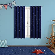 Twinkle Star Kids Room Curtains (2 Panels), Anjee Thermal Insulated Blackout Curtains with Punched Out Stars, Cute Window Drapes for Space Themed Nursery and Bedroom (52 x 63 Inches, Royal Blue)