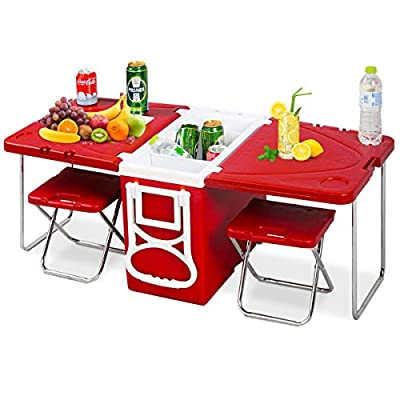 Giantex Multi Function Rolling Cooler Picnic Camping Outdoor w/Table & 2 Chairs Red