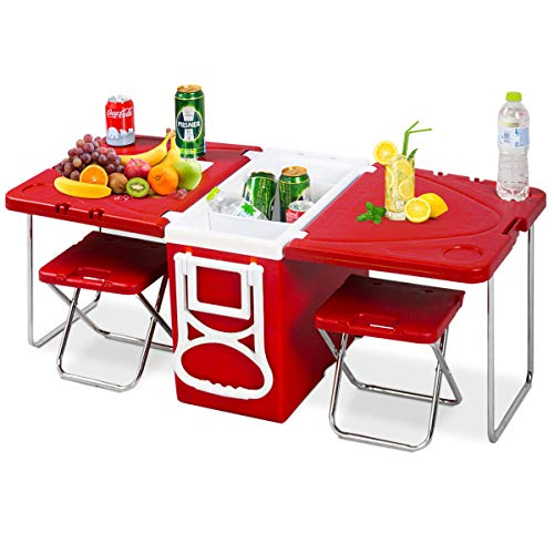 (Giantex Multi Function Rolling Cooler Picnic Camping Outdoor w/Table & 2 Chairs Red)