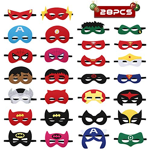 Types Of Themes For Parties (URHomeway Superhero Cartoon Masks Party Favors for Kids - 28 PCS Felt and Elastic - Superheroes Children's Birthday Party Masks Decor with 28 Different)