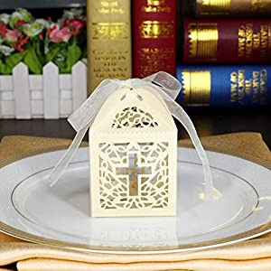 Amazon.com: 50pcs Ivory Cross Paper Gift Box Christening