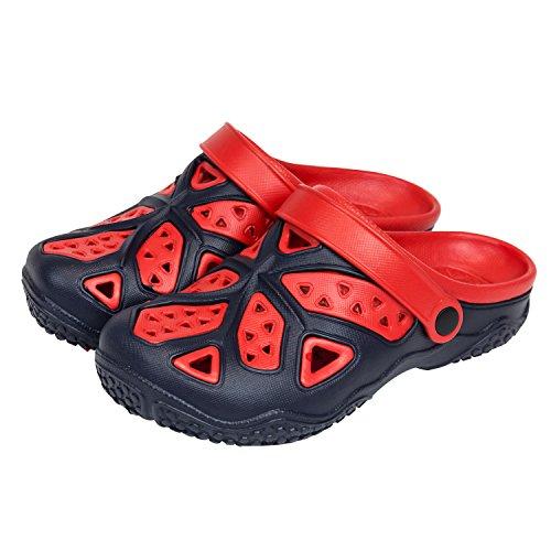 Sabot zoccoli slip on ciabatte in materiale EVA per bambini, taglia 34, colore: blu / rosso