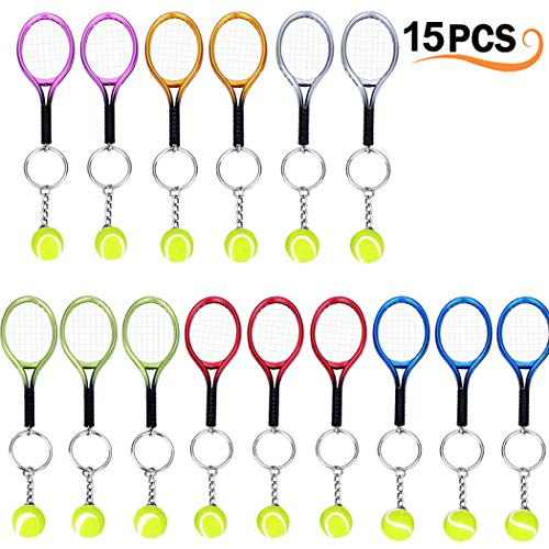 15Pcs Mini Tennis Racket Keychain Key Ring, Creatiee Fashionable Alloy Tennis Ball Split Ring, Sport Style Split Keychain Sport Lovers Gift Prize Set - Exquisite & Lightweight(Assorted Colors) ()