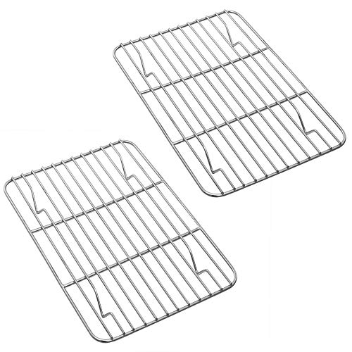 P&P CHEF Baking Rack Pack of 2, Stainless Cooling Rack for Cooking Baking Roasting Grilling Drying, Rectangle 8.6'' x 6.2'' x0.6'', Fits Small Toaster Oven, Oven & Dishwasher Safe