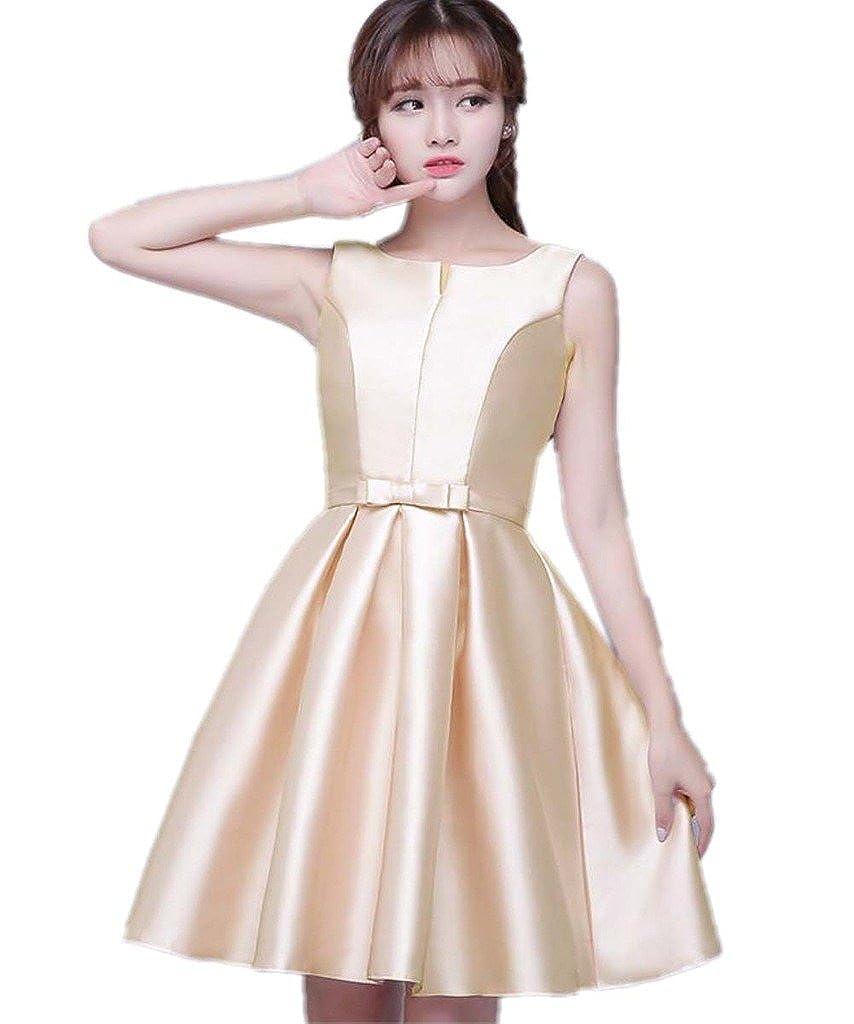 Champagne APXPF Women's Short Sleeveless Bridesmaid Dress Formal Prom Dress