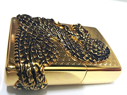 Zippo Snake Coil Gold Lighter / Genuine Authentic / Original Packing (6 Flints set Free Gift) by Zippo (Image #3)