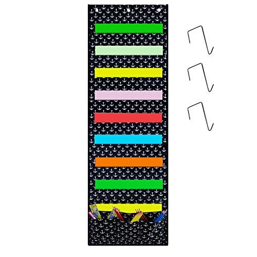 Godery Wall Pocket Chart Organizer, School Pocket Chart 9 Large Pockets 3 Small Pockets & 3 Hangers, Multi-Purpose Wall Hanging File Organizer Folder 14