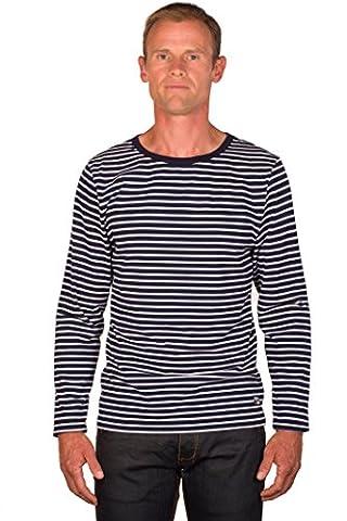 Ugholin Men's Breton Stripe Cotton Printed Long Sleeve T-shirt - L Navy Blue - Breton Stripe