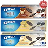 Oreo Thins Chocolate Sandwich Tiramisu, Vanilla Delight, Lemon Cheesecake Cookies 95 g. 3 Flavored PACK