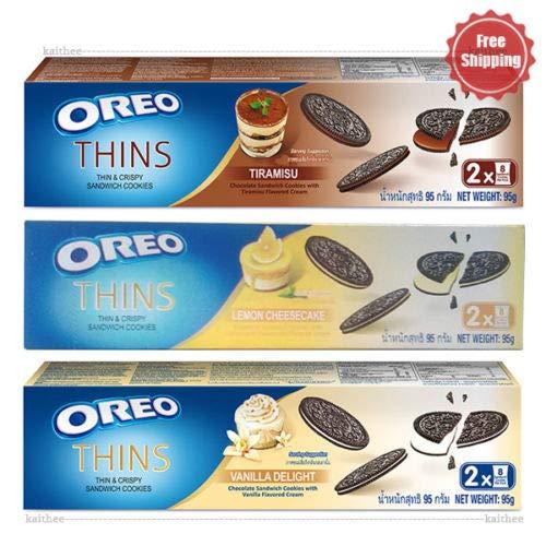 Oreo Thins Chocolate Sandwich Tiramisu, Vanilla Delight, Lemon Cheesecake Cookies 95 g. 3 Flavored PACK by oreo thin