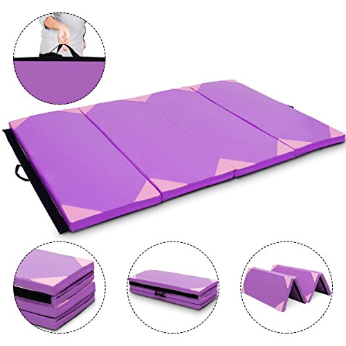 Exercise Mat Purple & Pink 4'x6'x2 Gymnastics PU Thick Folding Panel Gym Fitness with Ebook