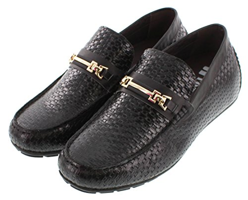 5 2 Increasing Moc on Shoes Black Lightweight Toe Size Leather Super Slip H32161 Height TOTO 11 Elevator Taller 2 Casual Shoes inches UK 0AqAvE