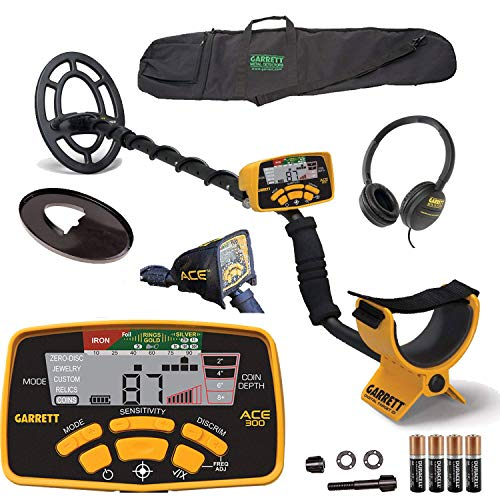 Garrett ACE 300 Metal Detector with Waterproof Search Coil and Carry Bag ()