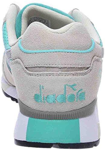 Diadora V7000 Premium Heren Grijs Blue Suede / Leder Atletische Sportschoenen Cyaan Blauw / Groen Fluorescerend