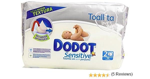 Dodot - Toallitas para piel sensible, sin perfume - 2 paquetes 108 ...