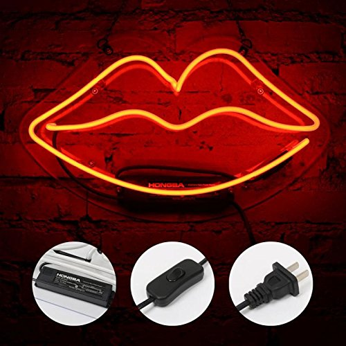 Lip Neon Sign Glass Neon Light for Girls Bedroom Lipstick Store Bar Hotel Decorative Sign 13.4 x 7.5 inch Red by FLYDOO (Image #6)