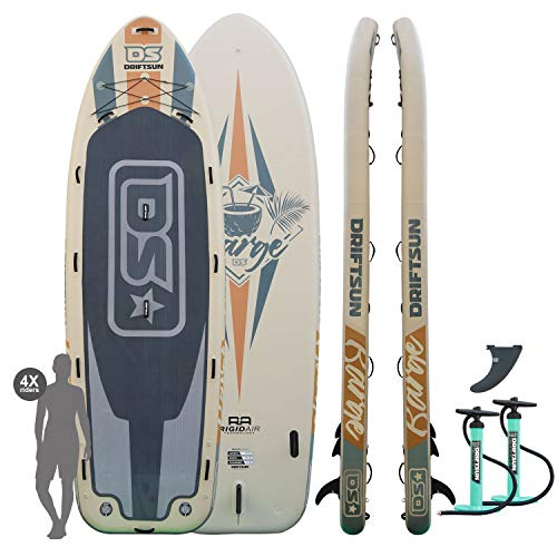Driftsun Party Barge 15 Foot Inflatable Paddle Board, Large Multi Person Inflatable Stand Up SUP with 2 Dual Action Hand Pumps for Quick Inflation, 15 Feet Long, 4.5 Feet Wide, Tan