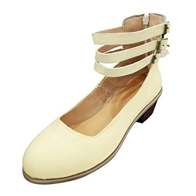 OrchidAmor New Women Suqare Heels Buckle Strap Round Toe Solid Color Casual  Jobs Single Shoes Beige 9c3f896c7