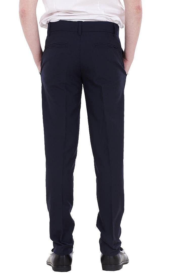 BHS Boys ex Slim Fit Skinny Grey Adjustable Waist Black School Trousers