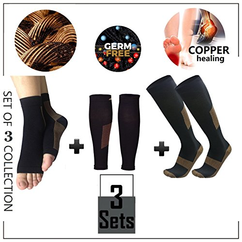 Copper Compression Ankle Sleeve & Calf Compression Sleeve & Knee High Compression Socks- 3 Sets Collection for Plantar Fasciitis, Shin Splint, Calf Pain- Guaranteed Relief & Recovery – DiZiSports Store