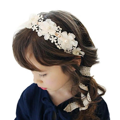 School Girl Accessories (Baishitop 1PC Pearl Flower Lace Hairband, Princess Retro Headband For Girls (White ))
