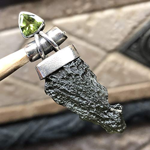 (Natural Green Czech Republic Moldavite, Apple Green Peridot 925 Solid Sterling Silver Healing Stone Designer Pendant 35mm Long)