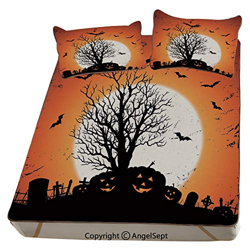 Homenon Vintage Halloween,Summer Cooling Mat 3D Printing Foldable Folding Summer Ice Silk Cover Cool Mat with Pillowcase(Full) Grunge Halloween Image with Eerie Atmosphere Graveyard Bats Pumpkins -