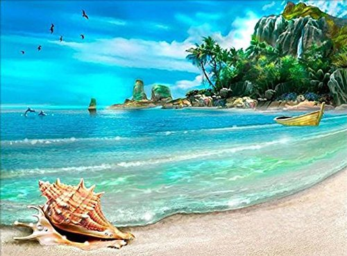 DIY 5D Diamond Painting by Number Kit Full Drill Rhinestone Embroidery Arts Craft for Home Wall Decor Seaside Beach 11.81x15.75 inches