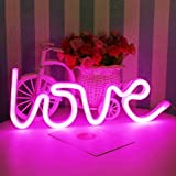 Led Neon Cactus Sign Love Sign Art Decorative Lights Wall Decor Home Party Decoration Kids Room Living Room LED Decorative Neon Lights (Pink Love Neon Sign)