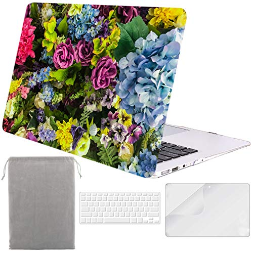Sykiila for MacBook Air 11 Inch Case Hard Cover 4 in 1 HD Screen Protector Film + TPU Keyboard Cover + Sleeve Protective Folio Case for Air 11'' Model: A1370 / A1465 - Floral
