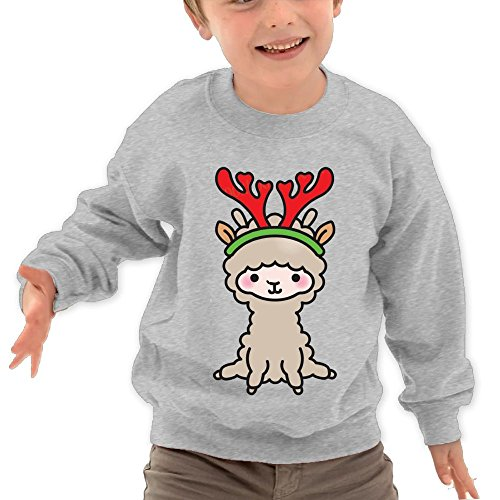 Puppylol Llamas Christmas Kids Classic Crew-neck Pullover Hoodie Ash 2 Toddler