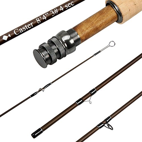 AnglerDream Caster Fly Fishing Rod 4 Sections 30T Carbon Fiber Blanks Medium-Fast Action Matt Brown LT Gun Metal Reel Seat with Burl Wood Insert Stainless Steel Snake Guides Fly Rod with Plastic Tube (Piece 3 5wt)