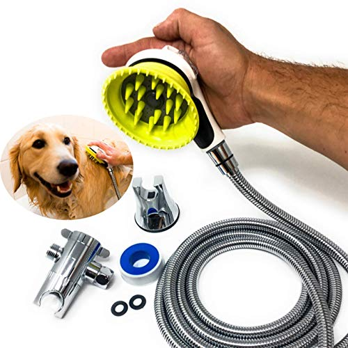 All-In-One Quality Dog Shower Kit | WATER SPRAYER BRUSH & RUBBER SHIELD | 8 ft Flexible Metal Hose, Shower Diverter, Suction Cup Holder | Shield Water From Dogs Ears, Eyes ()