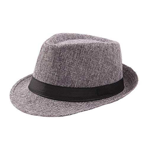 6323bb719 Vim Tree Men's Classic Short Brim Straw Fedora with Band Beach Trilby Sun  Hat D-Grey
