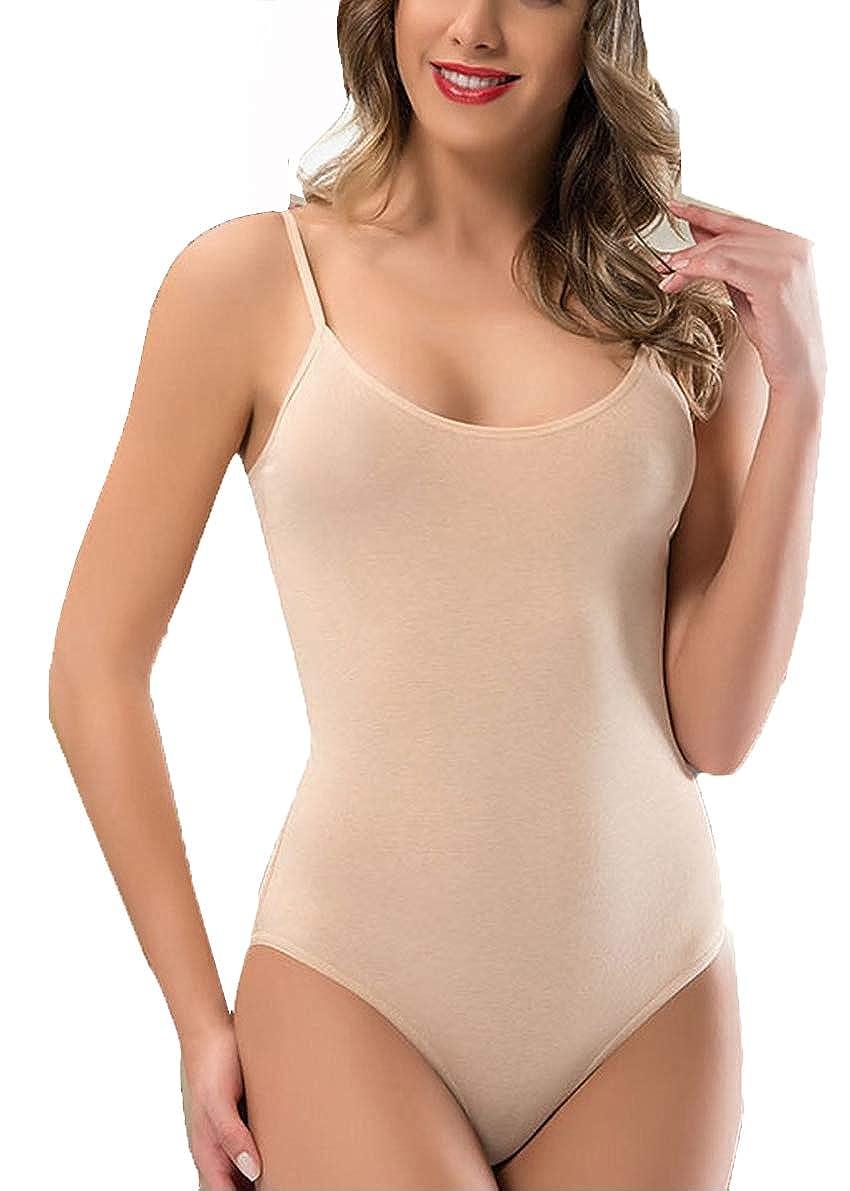 Body da donna senza maniche, stretch, con scollo rotondo, con spalline, taglia S/M/L/XL