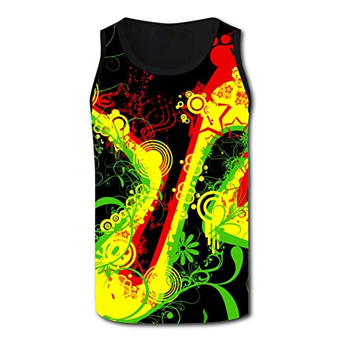 SsSEYYA-4 Regg-ae Weed Plant Men's Racerback Tank Tops Casual 3D Printed Tees Sleeveless Workout Yoga Shirt L Black (Ae Sonnenbrille)